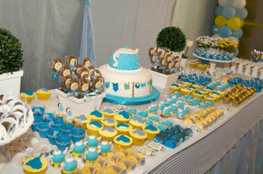 Decoração para chá de bebe azul e amarelo