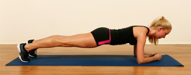 Postura da prancha abdominal