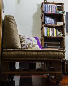 Lateral do sofá de pallets
