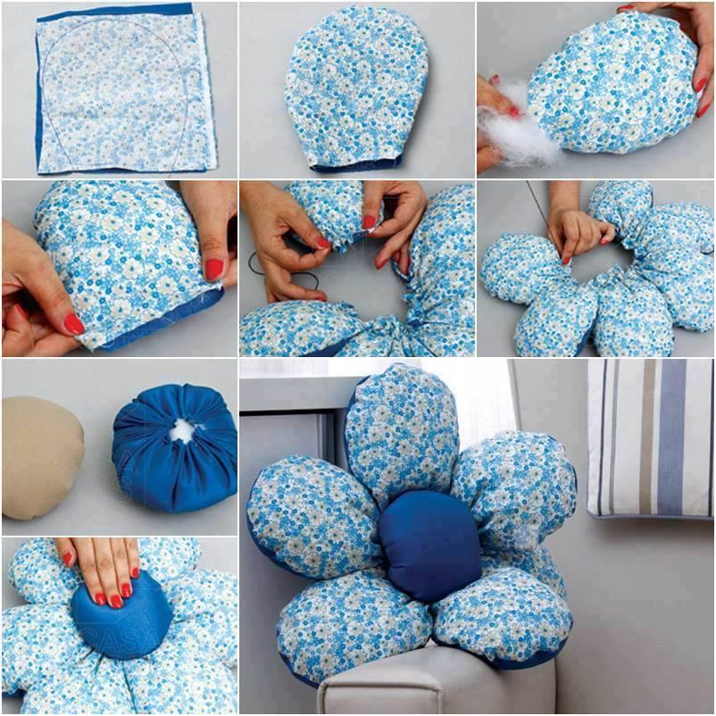 Almofada em forma de flor fácil de fazer