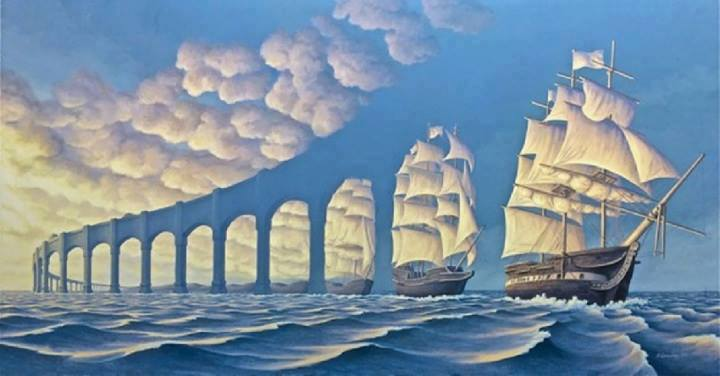 Os barcos e as núvens