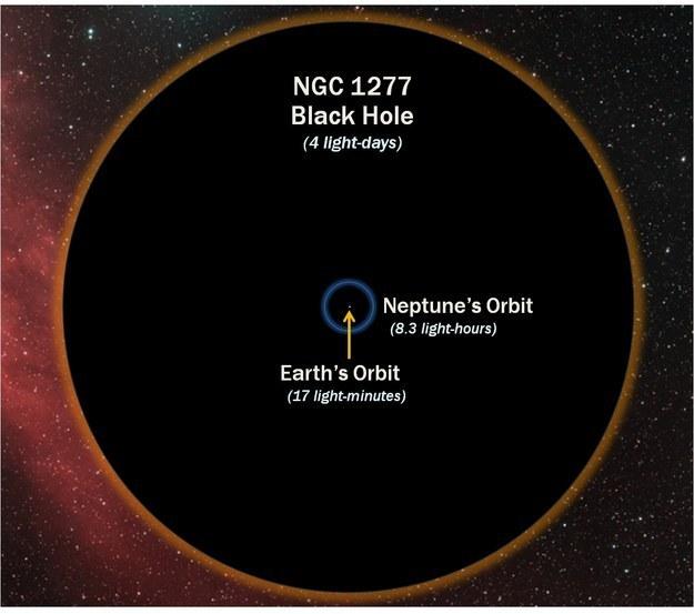 Buraco negro comparado com a órbita da terra
