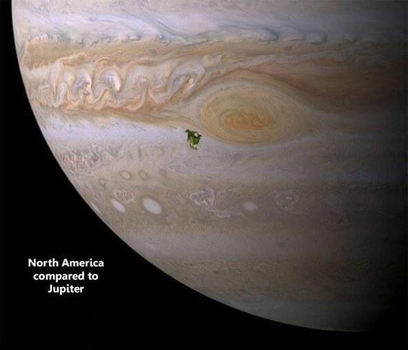 Tamanho de Júpiter comparado com a América do Norte