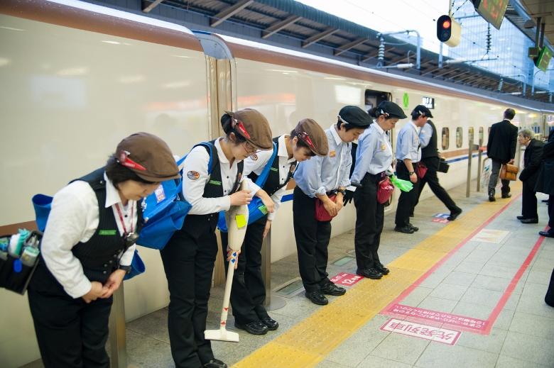 Funcionários do trem Japonês.
